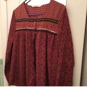 NEW burgundy button Boho shirt with bead accents